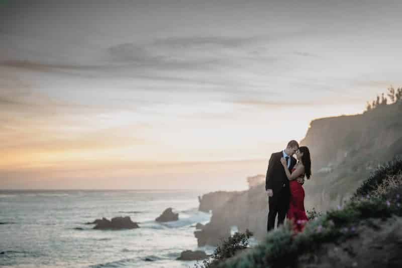 engaged couple at El Matador Beach Malibu