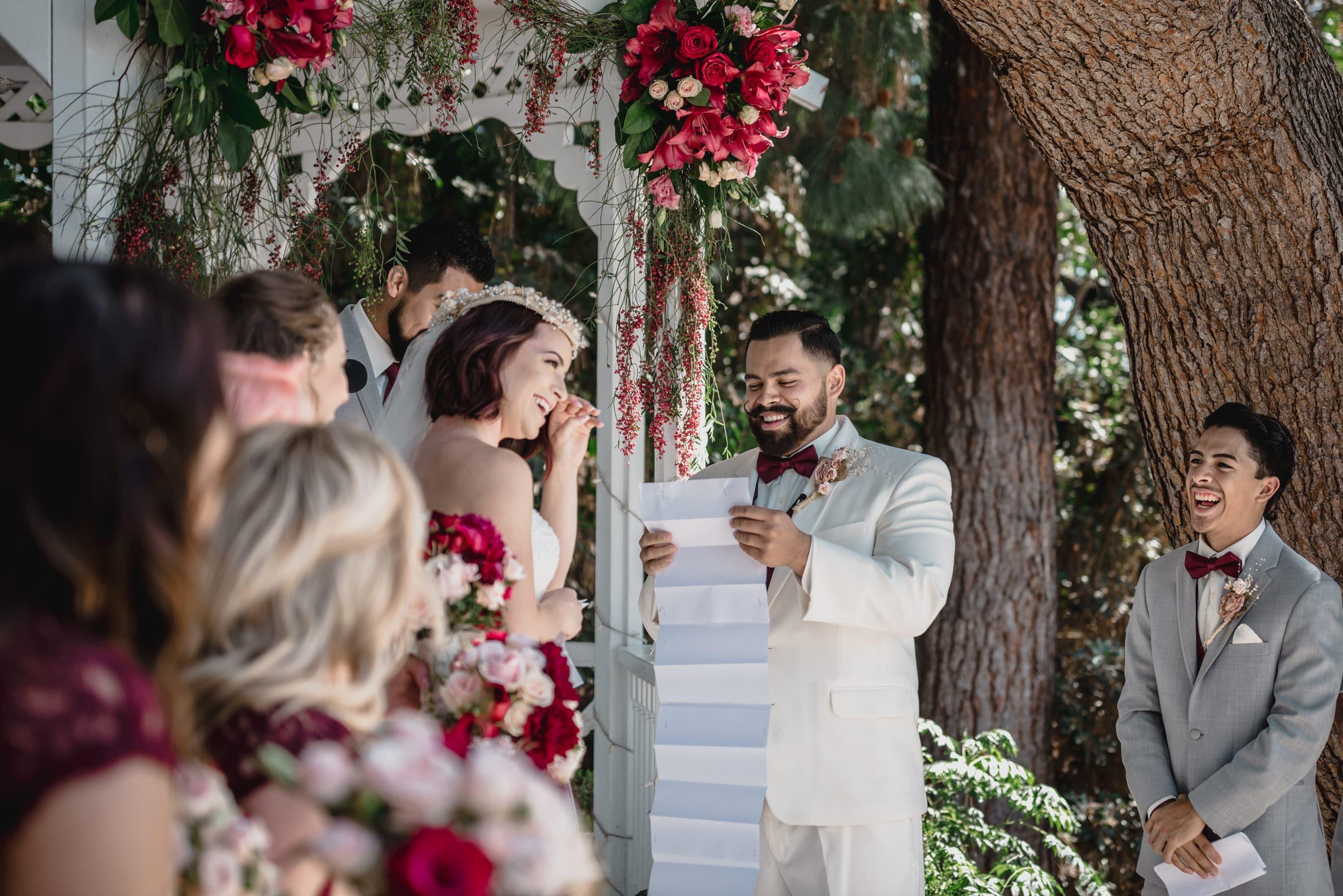 Bride and groom funny vows in Green Gables Wedding Estate El Cajon.jpg