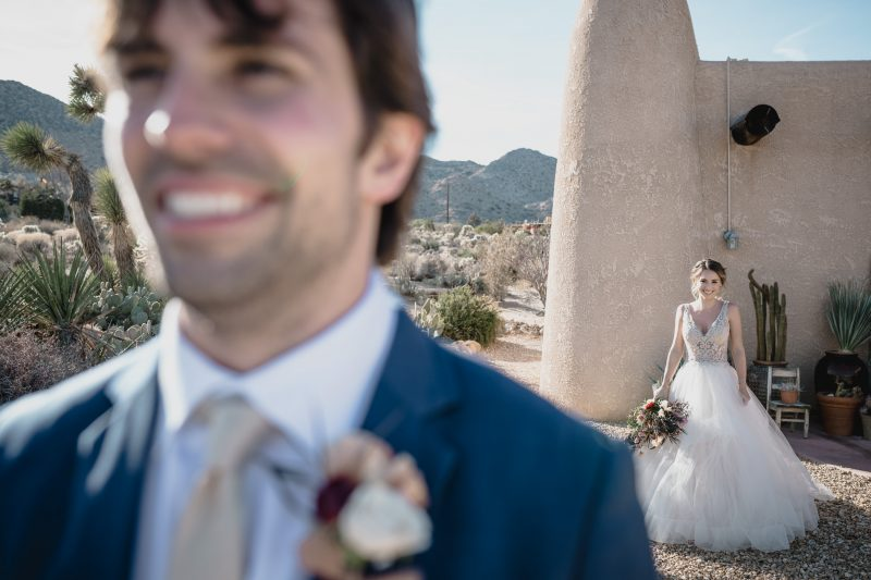 Groom look in Joshua Tree