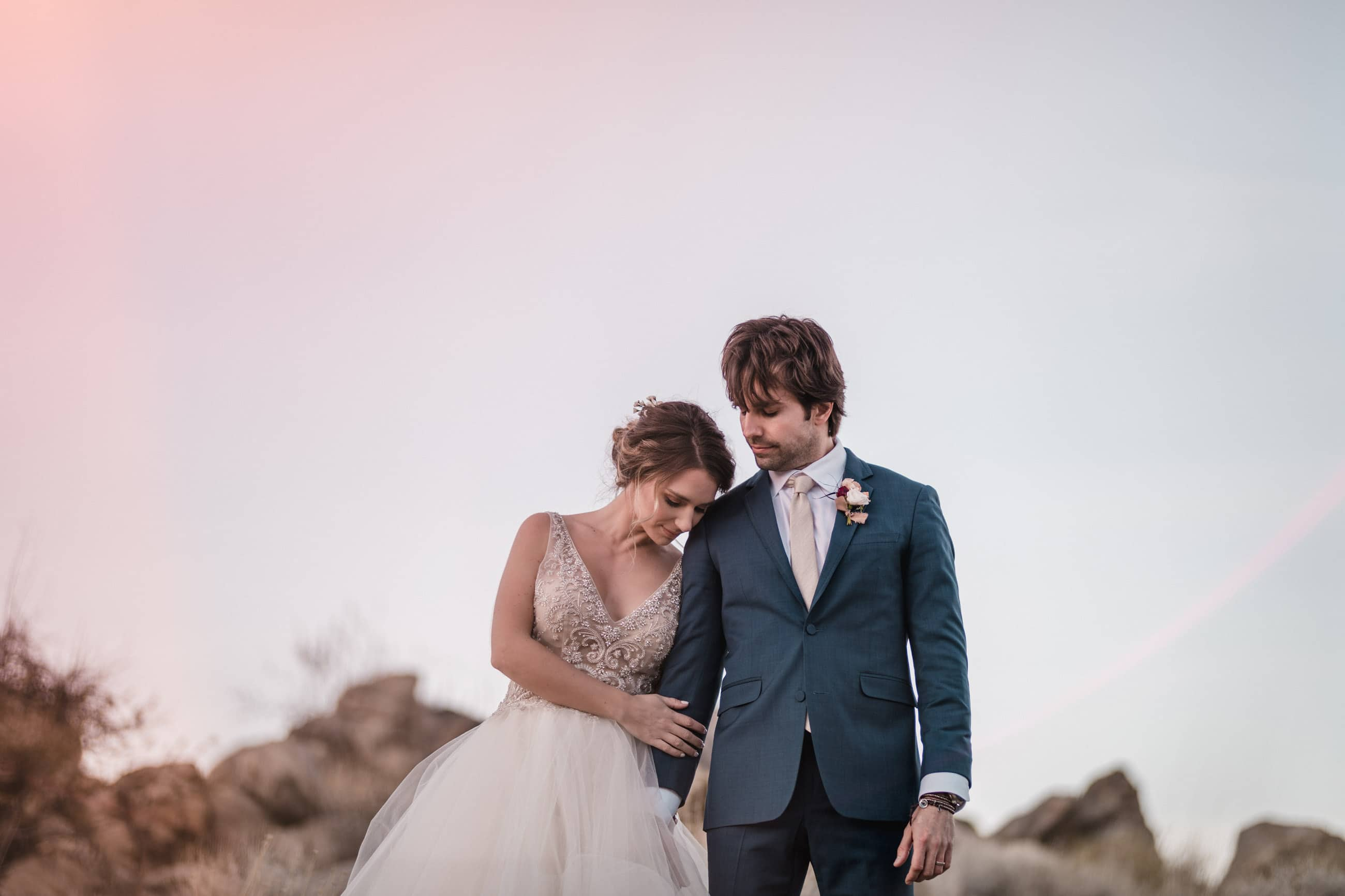 bride and groom in Joshua Tree