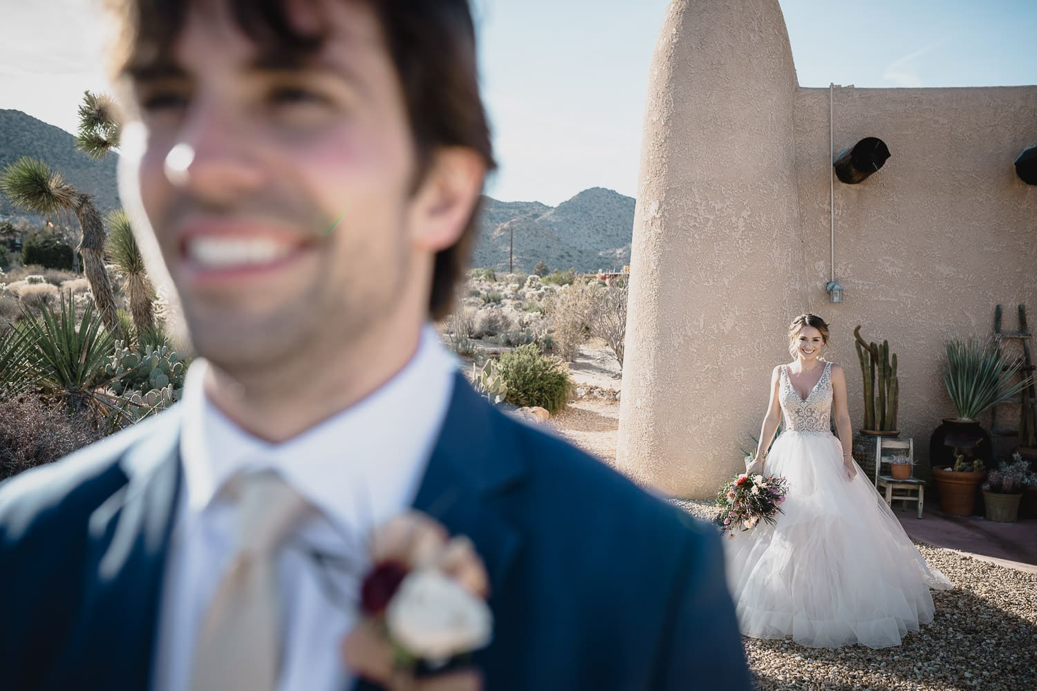 first look Joshua Tree wedding photographer