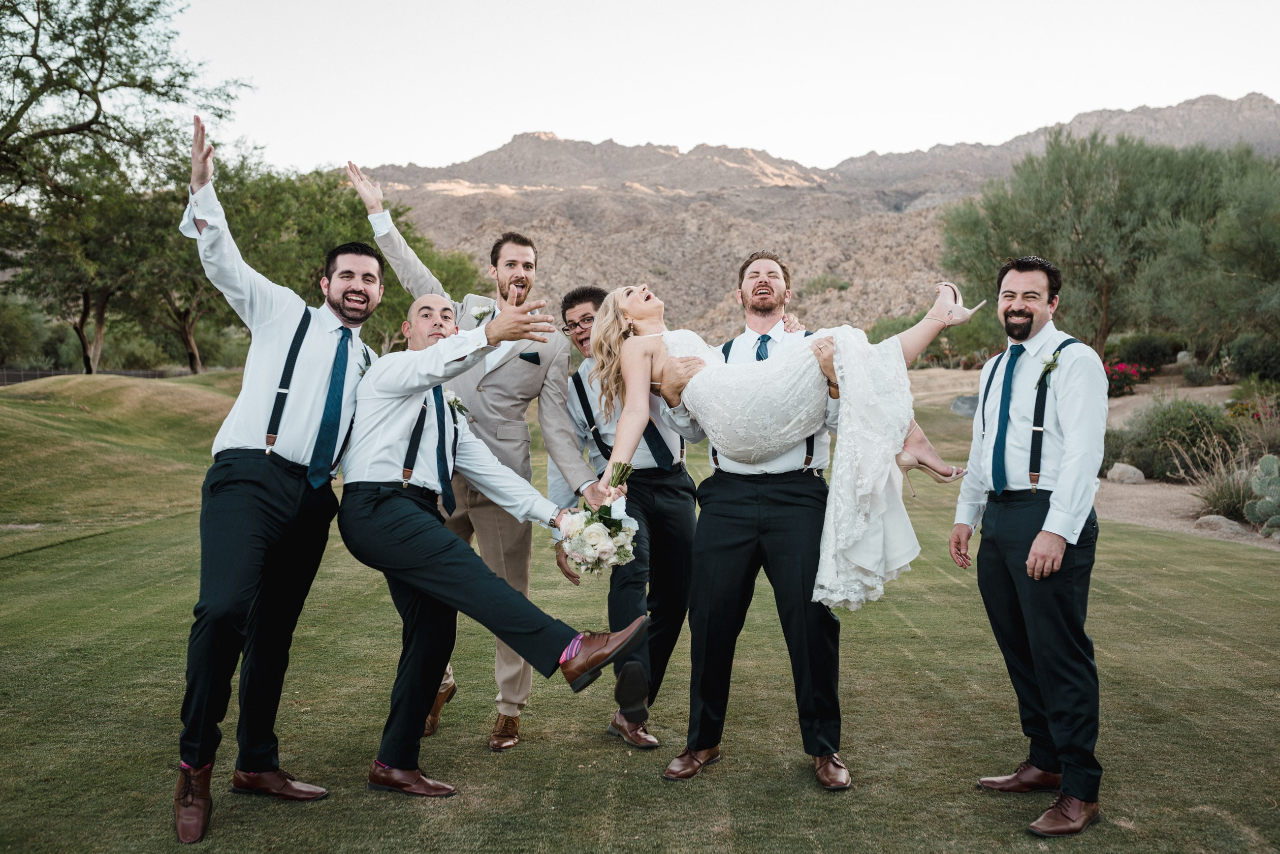 fun group shot by Palm Springs area Wedding Photographer