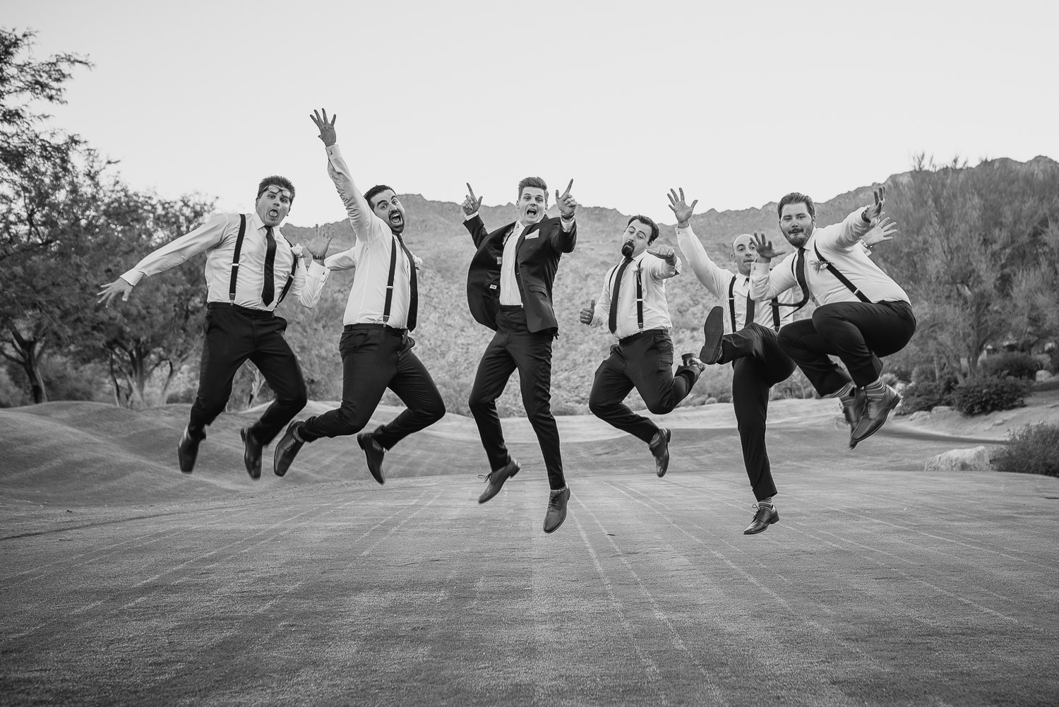 groomsmen with Palm Springs area Wedding Photographer