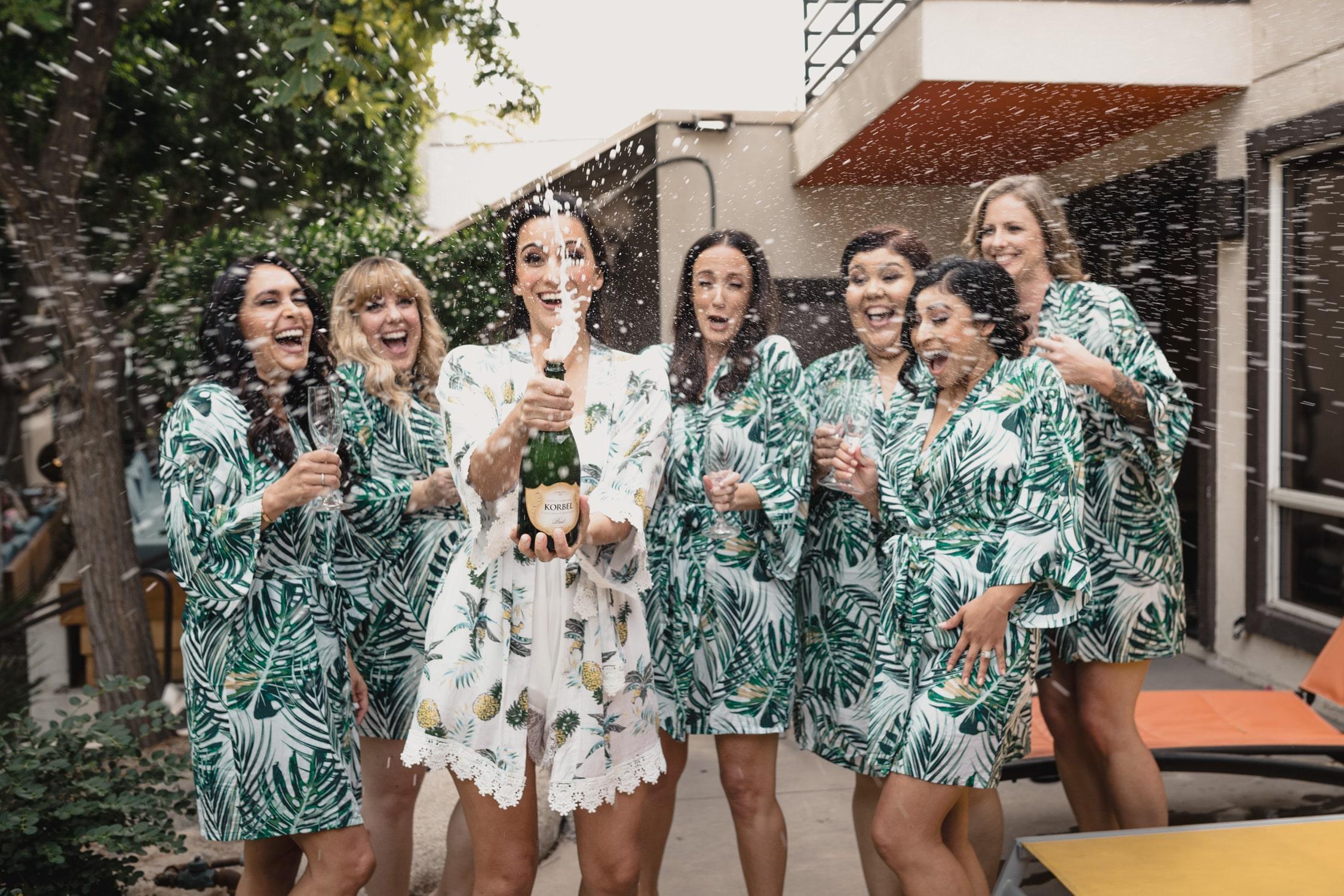 bridesmaids before Wedding at Twin Palms Sinatra Estate