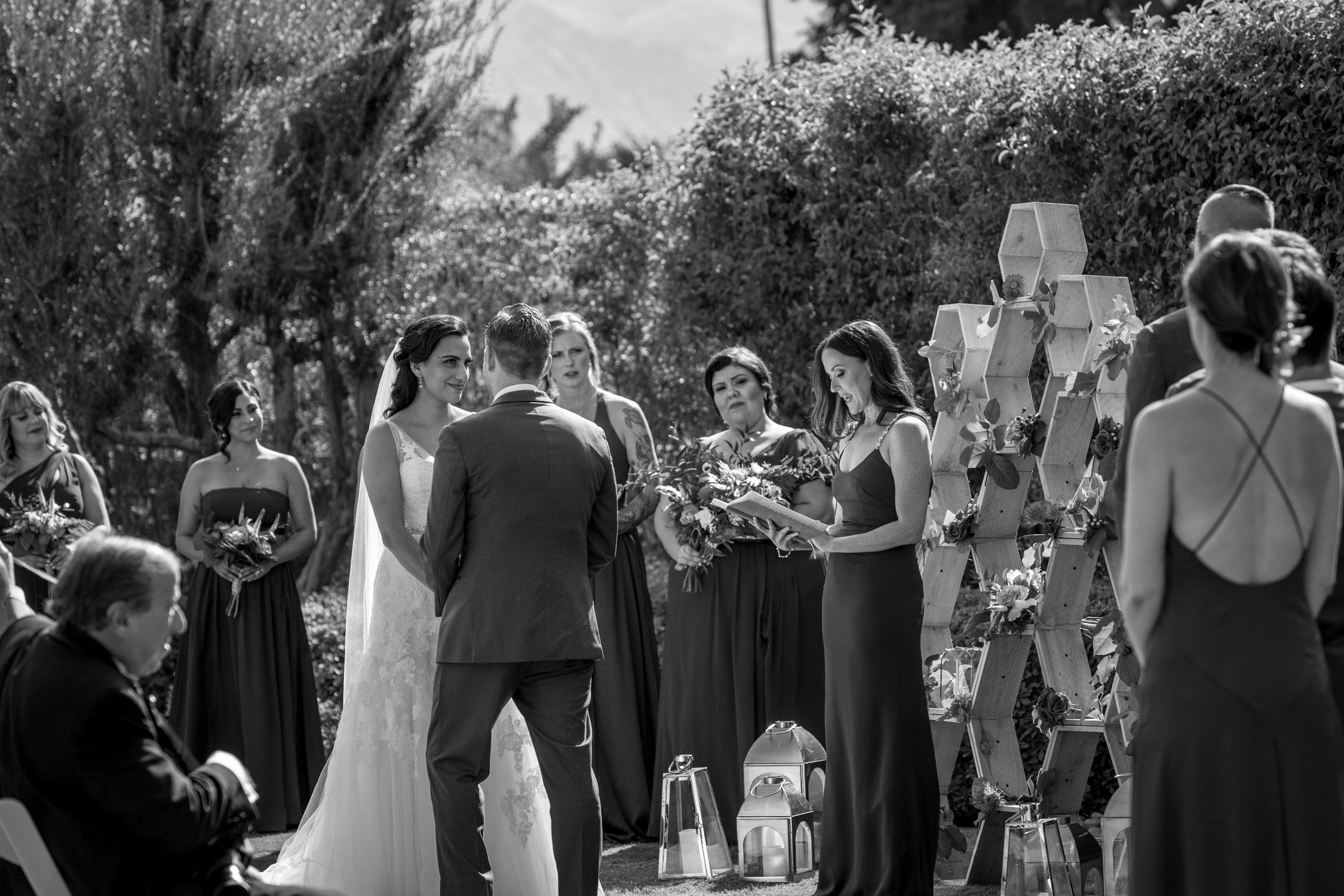 b&w ceremony Wedding at Twin Palms Sinatra Estate