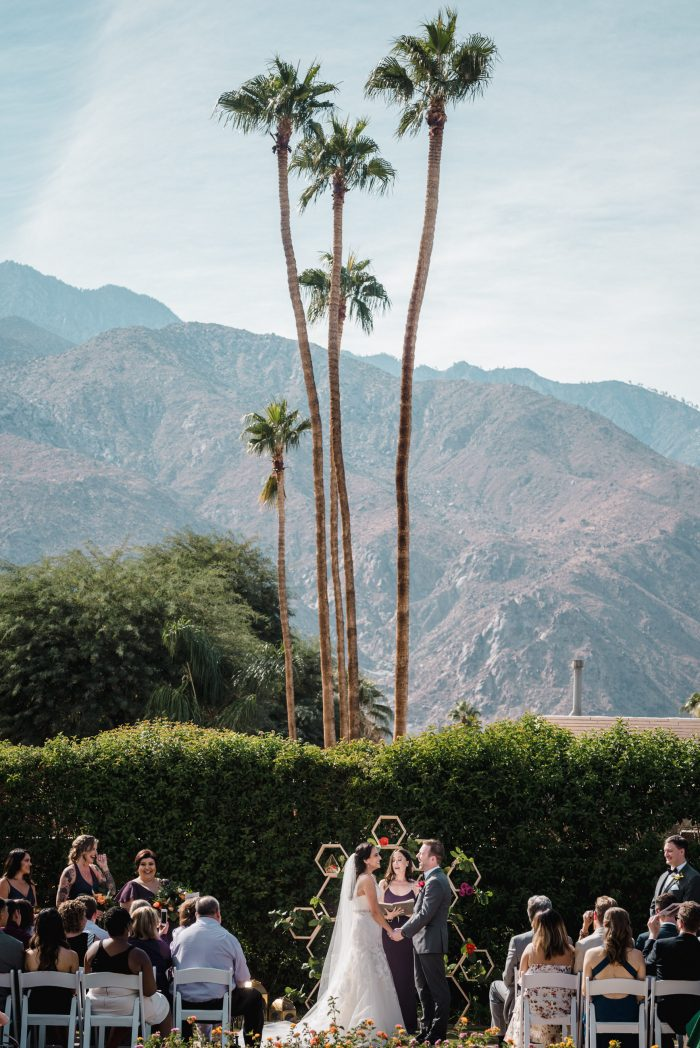 wedding ceremony at twin palms sinatra estate