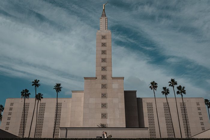 Los Angeles Temple portrait of bride and groom wedding