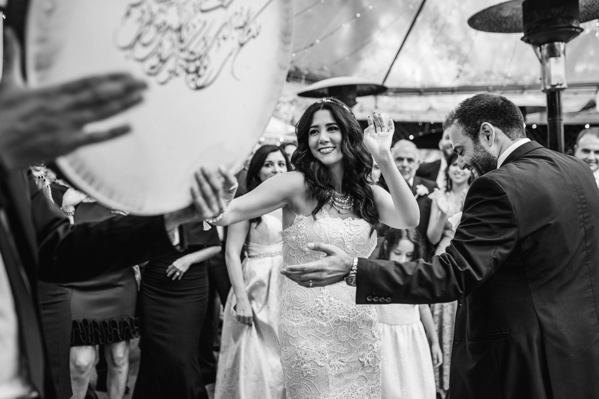 bride and groom party at venue